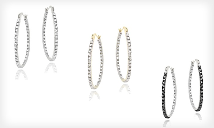 Diamond-Accented Hoop Earrings: One Pair of Diamond-Accented Hoop Earrings (Up to 79% Off). Three Styles Available. Free Shipping and Free Returns.