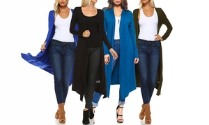 Isaac Liev Women's Extra Long Duster Cardigan