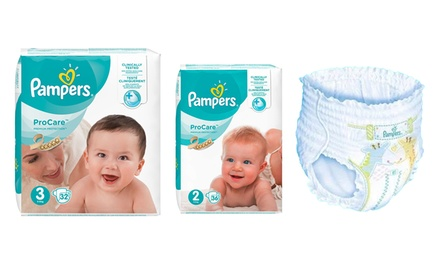 Pack de 128 o 144 pañales Pampers ProCare