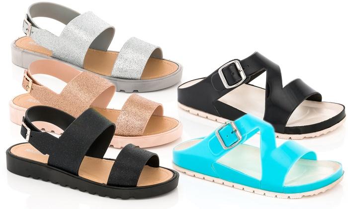 Two-Strap Glitter Sandals