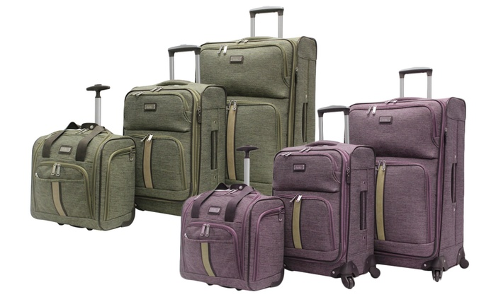 Nicole Miller Expandable Softside Spinner Luggage Sets ...