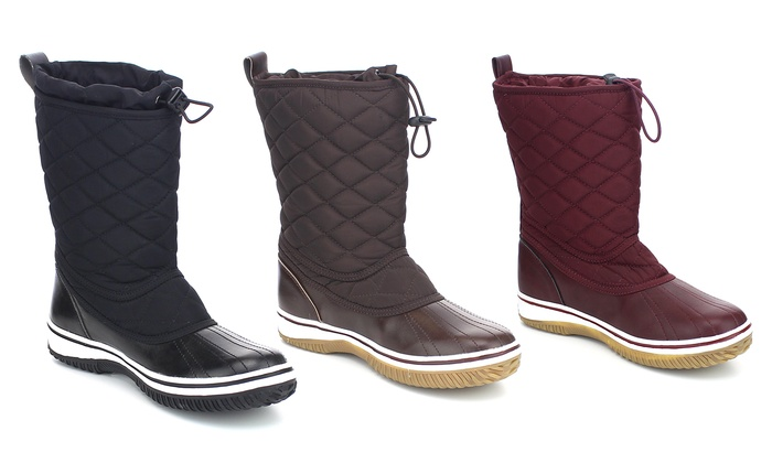 Women's Round Toe Fabric Shaft Winter Snow Boots | Groupon