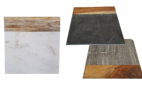 "8"" Square Marble and Wood Serving Cutting Board 596275a6-5cfb-11e7-a480-00259069d868"