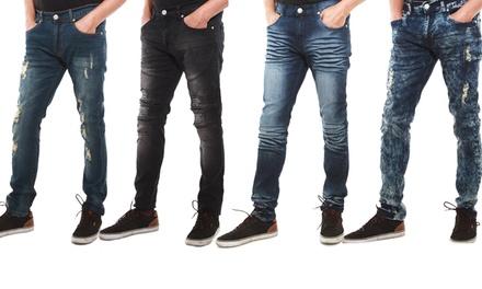 Indigo People Men's Skinny Ripped Jeans
