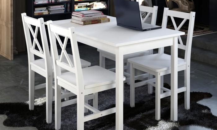 Tavolo di legno e 4 sedie groupon goods for Tavolo groupon
