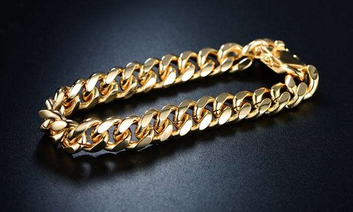 8mm Solid Miami Cuban Link Bracelet In 18k Gold Plated Br