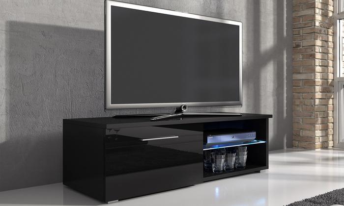 jusqu 39 55 meuble tv avec led groupon. Black Bedroom Furniture Sets. Home Design Ideas