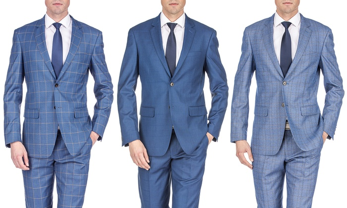 dc0945aed Up To 87% Off on Gino Vitale Men's Check Suit | Groupon Goods