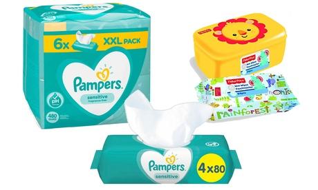 Pack de 480 lingettes pour bébé Pampers et 64 lingettes Fisher-Price avec boite de rangement