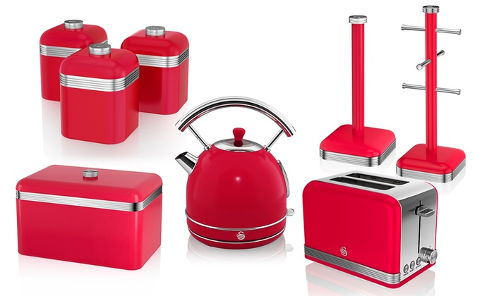 Swan Eight-Piece Kitchen Set with Two- or Four-Slice Toaster