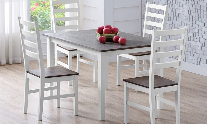 Veneer Dining Table With 4 Chairs Groupon Goods