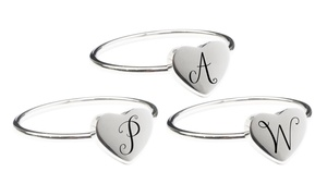 Comfort Fit Mono Initial Heart Ring by Pink Box