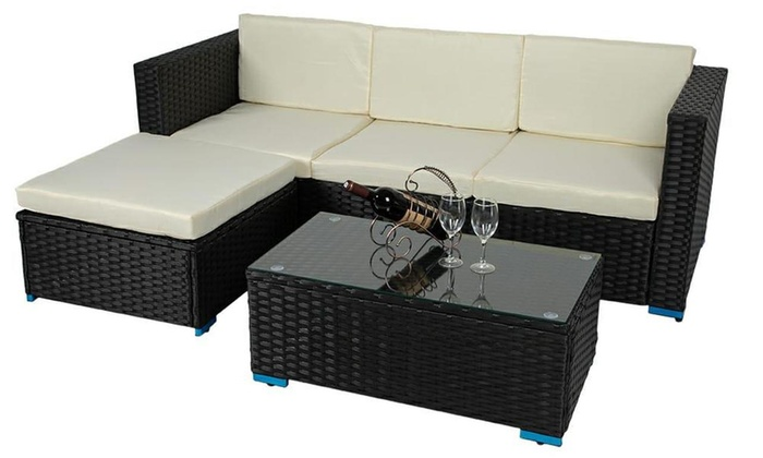 Modern Garden Rattan-Effect Four-Seater Corner Sofa Set