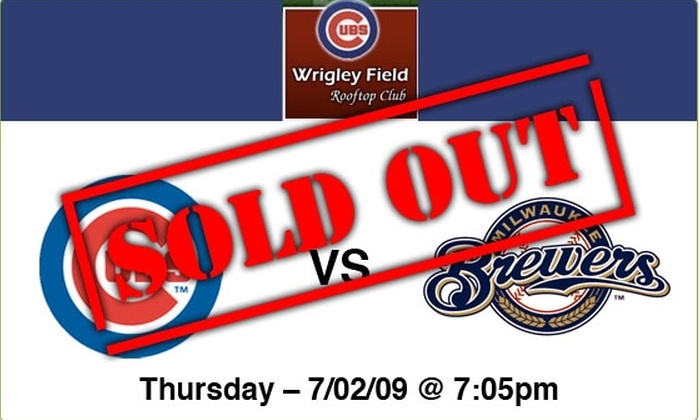 Wrigley Field Rooftop Club  - Lakeview: $89 Rooftop Tickets—Cubs vs Brewers, 7/2/09, 7:05 p.m.