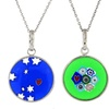 Sterling Silver Italian Murano Glass Pendant Necklaces