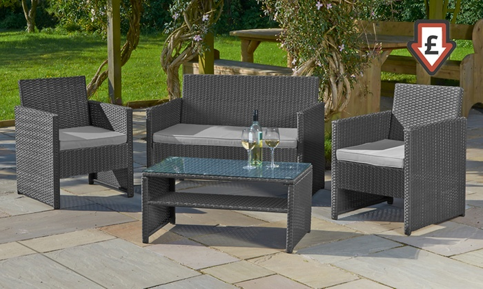 4 piece rattan effect garden set groupon goods for Gardening 4 less groupon