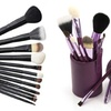 Professional Makeup Brush Set with Leather Standing Case (12-Piece)