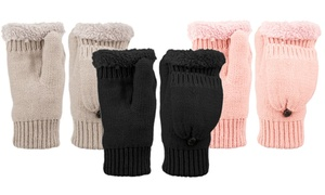 Fingerless Gloves with Mitten Cover and Sherpa Lining