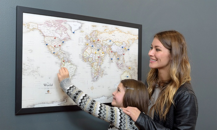 canada or world magnetic pin travel map with 50 pins