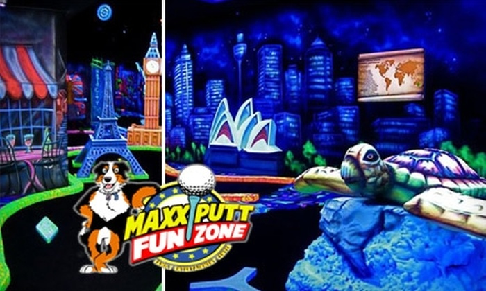 Maxx Putt Fun Zone - Hoover: $10 for Two Rounds of Glow-in-the-Dark Mini Golf and Two Games of Balladium at Maxx Putt Fun Zone ($24 Value)