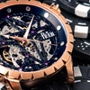 Reign Xavier Skeleton Dial Crocodile-Embossed Leather-Band Watch