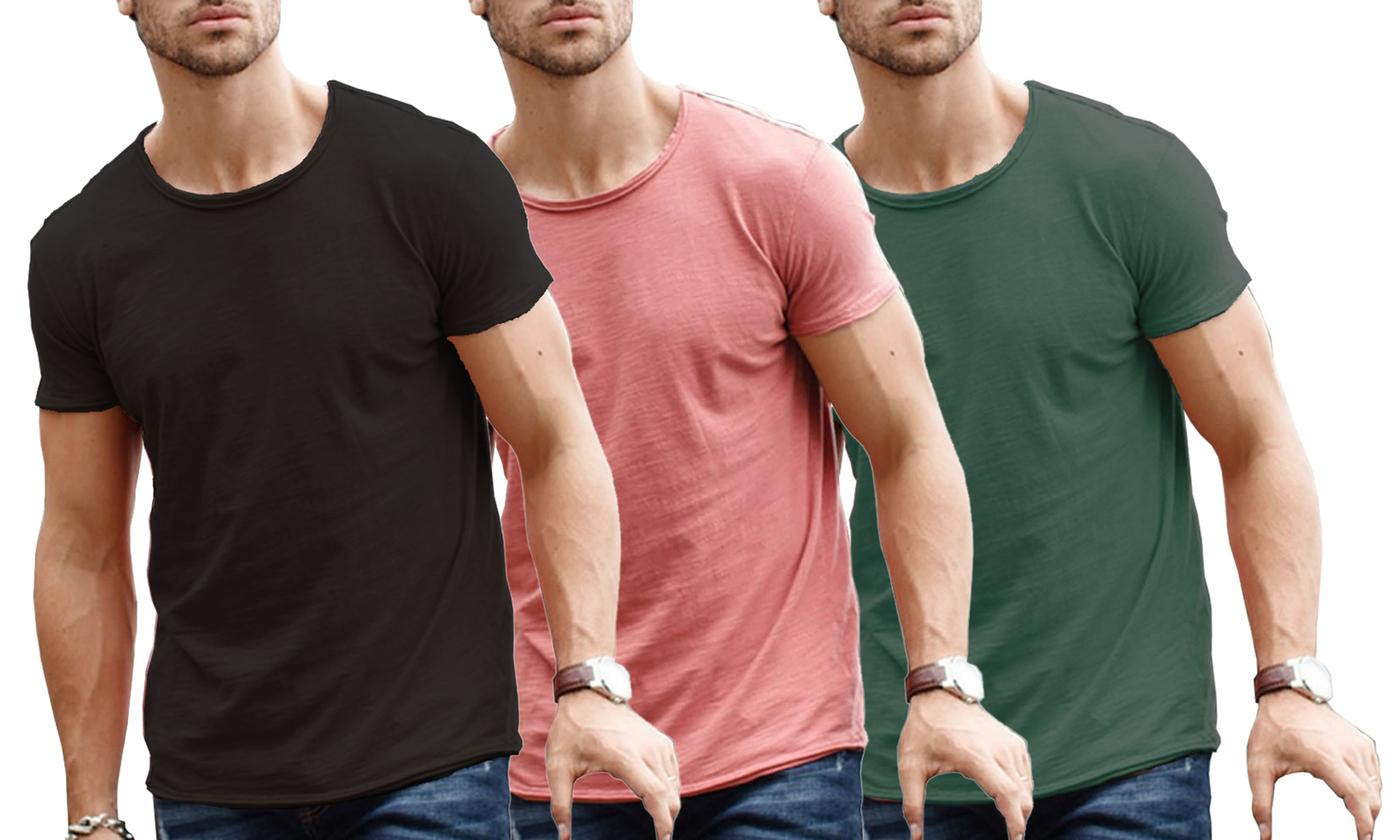 One or Two Men's Raw-Edge Neck Slim Fit T-Shirt
