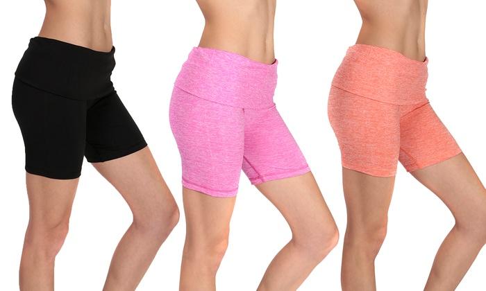 Assorted Spacedye Fold-Over Waistband Women's Yoga Shorts (6-Pack)