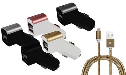 1 ou 2 chargeurs allume-cigare pour voiture compatibles à iPhone avec câble de chargement tressé résistant