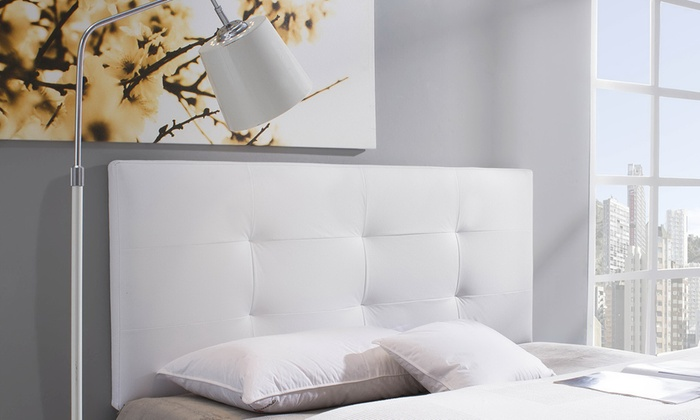 groupon goods global gmbh cabecero de cama tapizado con relleno de espuma y piel sinttica