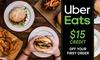 Uber Eats: $15 Off First Order