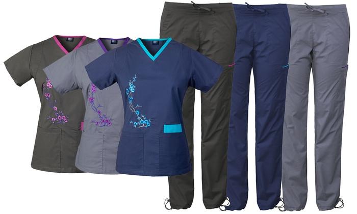 c57ba8e1b5b Medgear Women's Embroidered Stretch Top and Bottom Scrub Set   Groupon