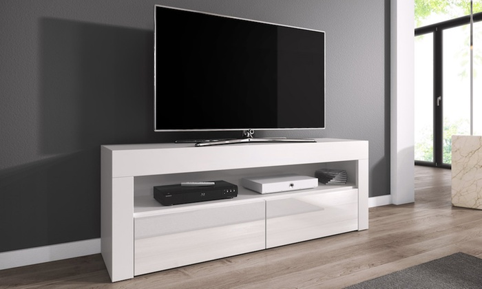 meuble tv 140 cm avec sans led groupon shopping. Black Bedroom Furniture Sets. Home Design Ideas