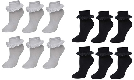 Six-Pack of Girls Lace Frilly Bow Ankle School Socks