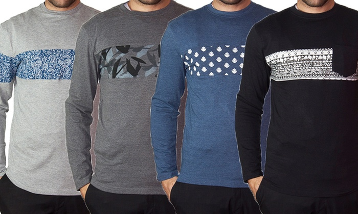 StraightFaded Men's Long Sleeve Shirts with Chest Prints
