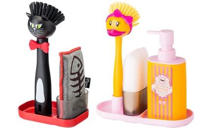 Set dispenser, spugna e spazzola disponibile in 2 modelli