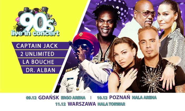 90s Live In Concert - Wiele lokalizacji: 125 zł: 1 bilet na koncert 90s Live In Concert w Gdańsku, Poznaniu lub Warszawie – 2Unlimited, Dr. Alban i inni