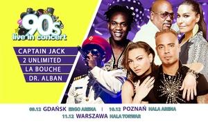 90s Live In Concert: 125 zł: 1 bilet na koncert 90s Live In Concert w Gdańsku, Poznaniu lub Warszawie – 2Unlimited, Dr. Alban i inni