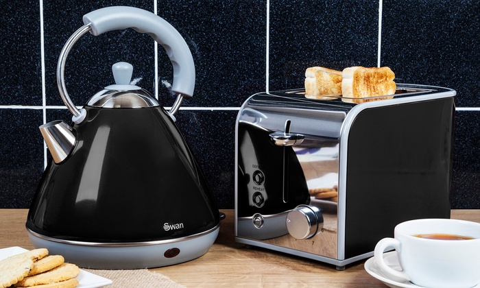 Swan three piece kitchen set groupon goods for Kitchen set kettle toaster microwave