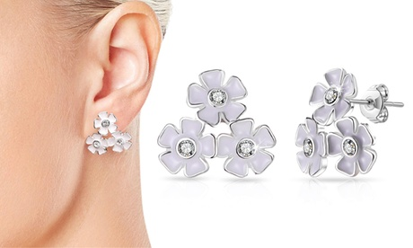 1 o 2 pares de pendientes Philip Jones con diseño de flores decorados con cristales de Swarovski®