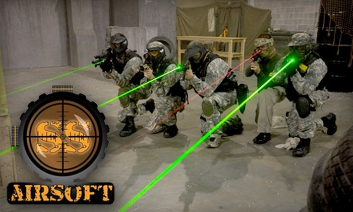 SS Airsoft - Sugar Hill: Airsoft Admission and Equipment Rental at SS Airsoft in Sugar Hill. Choose Between Two Options.
