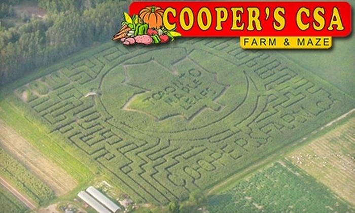 Cooper's CSA Farm & Maze - Zephyr: $7 for Corn-Maze Admission for Two Plus One U-Pick Pumpkin at Cooper's CSA Farm & Maze