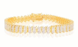 Diamond Accent Tennis Bracelet in 18K Gold Plating at Diamond Accent Tennis Bracelet in 18K Gold Plating, plus 6.0% Cash Back from Ebates.