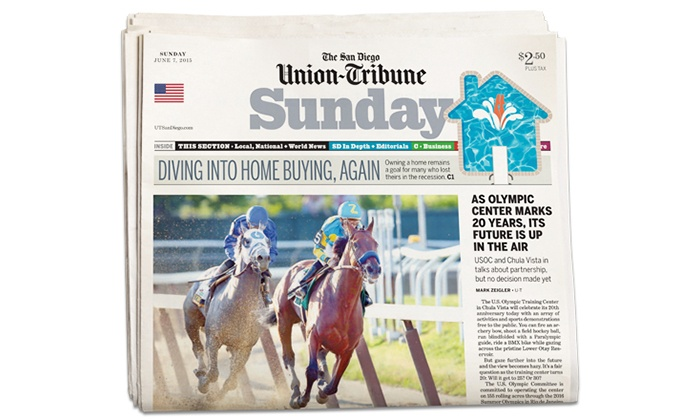 """The San Diego Union-Tribune - San Diego: One-or Two Years of Sunday Delivery and Digital Access to """"The San Diego Union-Tribune"""" (95% Off)"""