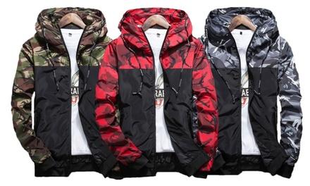 Herren-Jacke im Military-Design in Grün, Rot oder Grau in der Größe nach Wahl