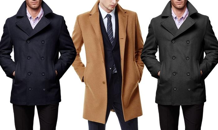Braveman Men's Wool Blend Coats with Free Plaid Scarf