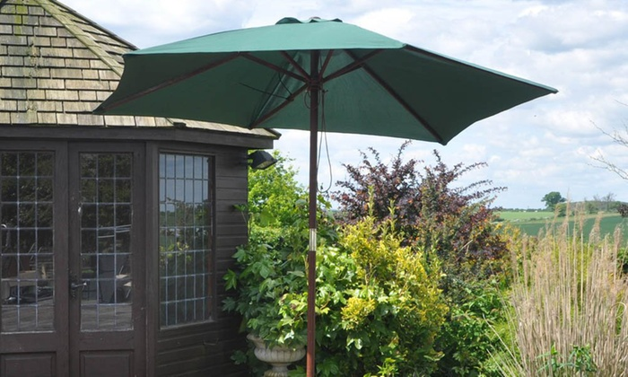 top-rated-deal-icon         Top Rated Deal                                                                                                                                                                                                                                                                                                                                                                                                                       Kingfisher 2.4m Wooden Garden Parasol