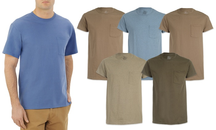 Fruit of the Loom Mens 4-Pack Pocket tees