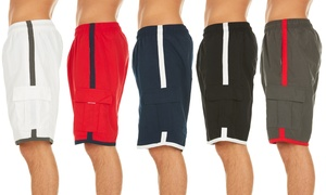Men's Solid Colored Cargo Swim Trunks with Contrast Stripe