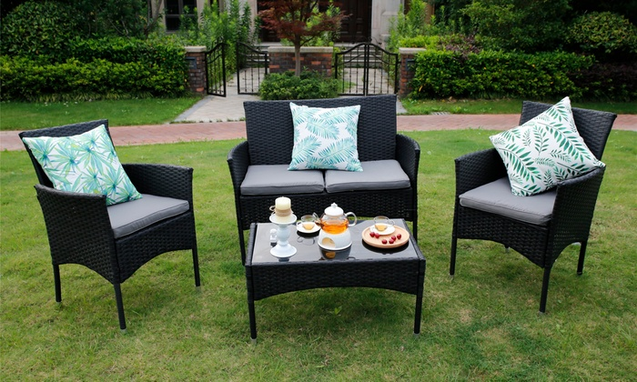 Eton Two or Four-Seater Outdoor Rattan-Effect Furniture Set with Optional Cover for £84.98