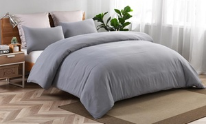 Washed Microfiber Solid Duvet Cover Set (2-, or 3-Piece)